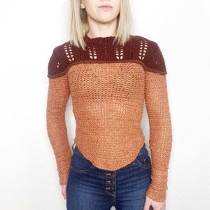 Free People Sweater Top Waffle Knit Thermal Top